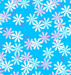 Fun seamless flower pattern vector image