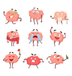 Funny cartoon characters brain in action poses vector