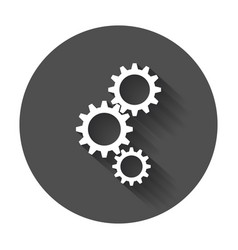 gear flat icon gear with long shadow vector image