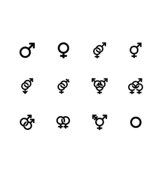 Gender identities icons on white background vector