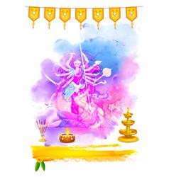 Goddess durga in happy navratri vector