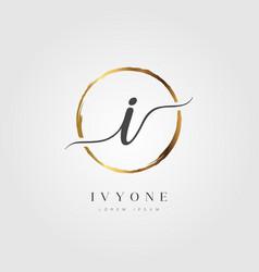 gold elegant initial letter type i vector image