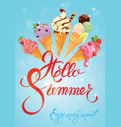 Greeting card with ice cream cones on blue vector