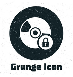 Grunge cd or dvd disk with closed padlock icon vector
