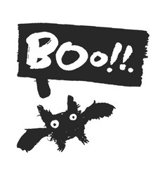 Halloween bat with boo speechbubble vector