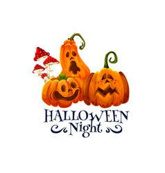 halloween night party card with pumpkin lantern vector image