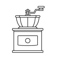 Hand coffee grinder icon outline style vector