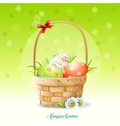 Happy Easter card and a basket with Easter eggs vector
