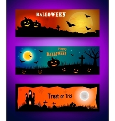 Happy halloween banner set Collection of header vector image