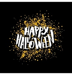 Happy Halloween greeting card with lettering vector