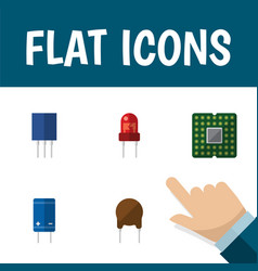 icon flat appliance set of mainframe recipient vector image