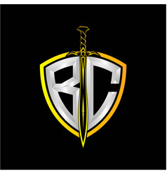 Initials b c is a shield decorated vector