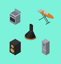 isometric appliance set of cloth iron air vector image