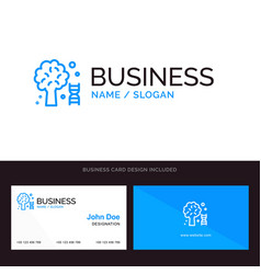 Knowledge dna science tree blue business logo and vector