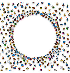 Large group of people in the shape of circle vector
