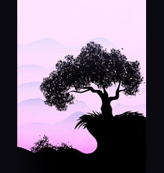 lonely ebony grows on a hill in the violet sky vector image