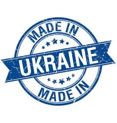 Made in ukraine blue round vintage stamp vector