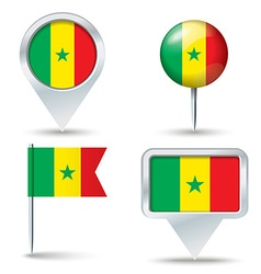 Map pins with flag of Senegal vector image
