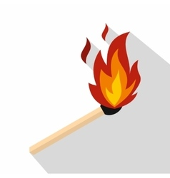 Match with fire icon flat style vector