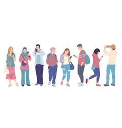 men and women with smartphones flat vector image