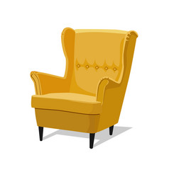 Modern yellow soft armchair with upholstery vector