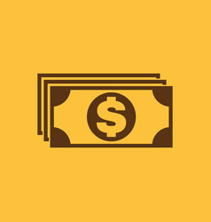 Money icon dollar and cash coin currency bank vector