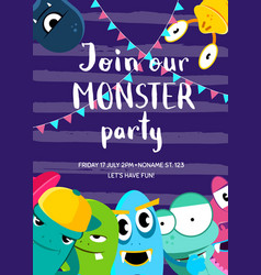 Monster party invitation poster with crowd vector