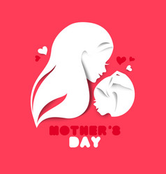mother silhouette with bacard happy mothers vector image