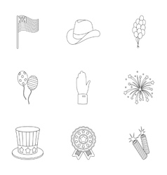 Patriot Day set icons in outline style Big vector