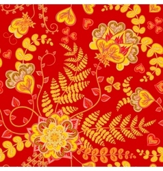 Pattern on red background with Chinese flowers vector
