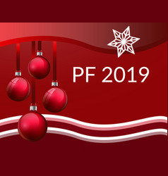 pf christmas greeting card design with realistic vector image