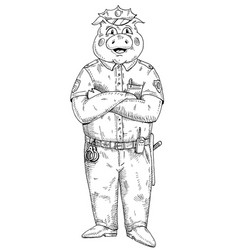 Pig with paws crossed dressed in police uniform vector