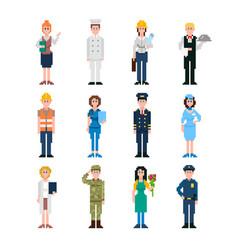 pixel art characters set professions pixel people vector image