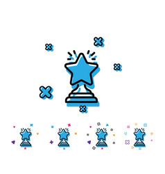 rank star line icon success reward vector image
