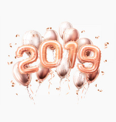 Realistic 2019 pink air balloons confetti new year vector