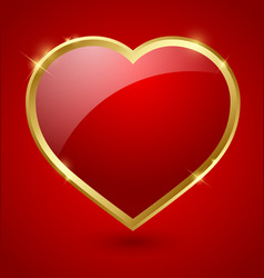 Red and golden heart vector