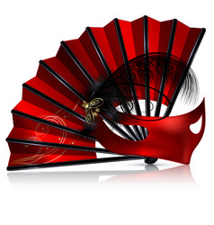 Red fan and mask with feathers vector