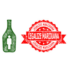 Rubber legalize marijuana stamp seal and hatched vector
