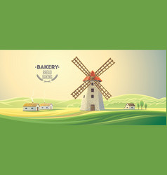 rural summer landscape with windmills and vector image