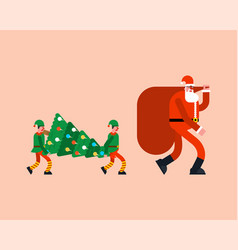 santa and red bag elves and christmas tree new vector image