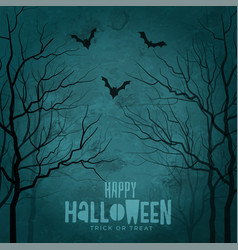 Scary trees with flying bats halloween design vector