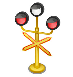 semaphore traffic-light with sign warning single vector image