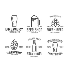 set linear brewery logos vector image
