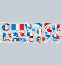 set national flag france in vector image