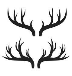 set of deer horns on white stock vector image