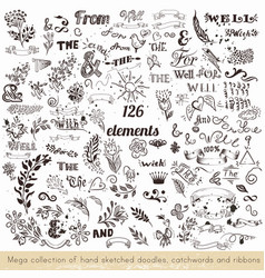 Set of hand sketched doodles catchwords vector