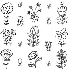 Set of spring item doodles vector image