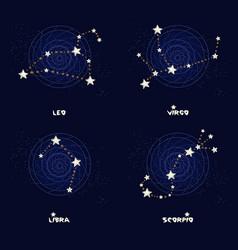 Set of zodiac constellations leo virgo libra vector