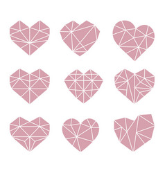 set polygonal flat heart symbols icons vector image