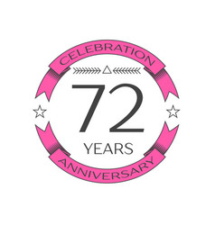 seventy two years anniversary celebration logo vector image